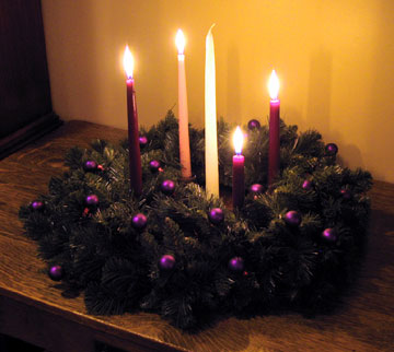 advent wreath purple pink candles